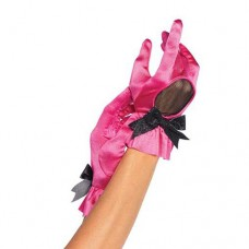 Wrist length satin glove with fishnet cu